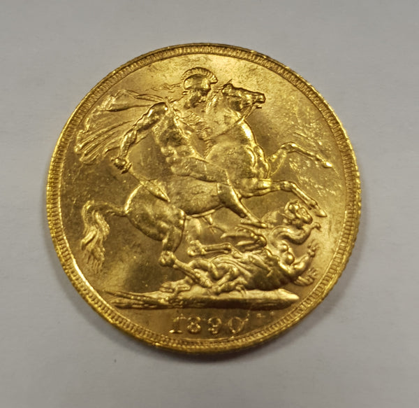 GREAT BRITAIN 1890 QUEEN VICTORIA GOLD SOVEREIGN