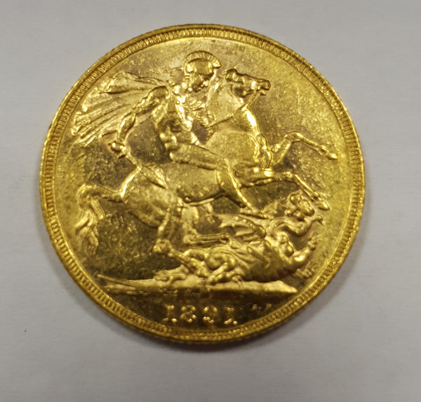 GREAT BRITAIN 1891 QUEEN VICTORIA GOLD SOVEREIGN