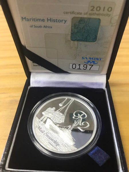 2010 MARITIME HISTORY SILVER TWO RAND ONE OUNCE