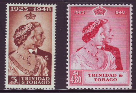MAURITIUS 1948  KGV1 ROYAL SILVER WEDDING  SET OF 2  MINT