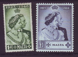 MALTA 1949 ROYAL SILVER WEDDING  KGV1 SET OF 2 MINT