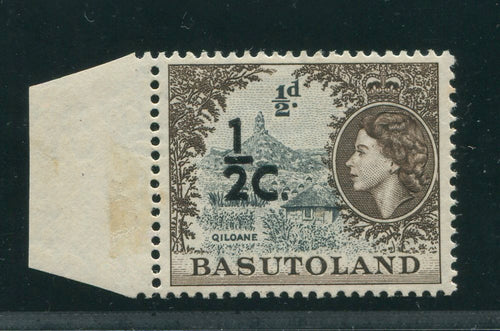 "BASUTOLAND 1961 1/2c ""DOUBLE SURCHARGE"" NEVER HINGED MINT"