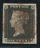 GREAT BRITAIN 1840 1d BLACK PLATE 1b  FINE USED