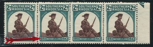 "SOUTHERN RHODESIA  KGV1 1943 ""NARROW STAMP"" FLAW"