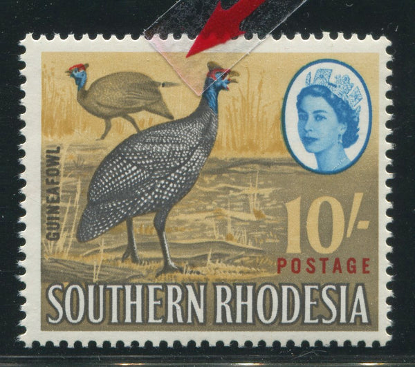"SOUTHERN RHODESIA  10/- ""TAILFEATHER"" FLAW"