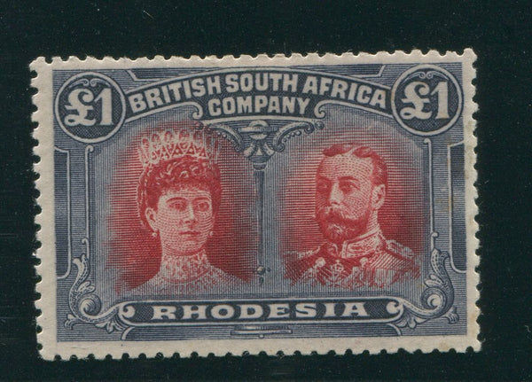 RHODESIA 1910 £1 DOUBLE HEAD CARMINE-RED & BLUISH-BLACK MINT SG 165