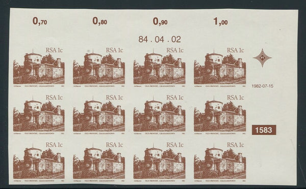 1982 1c DEFINITIVE CONTROL BLOCK of 12 - COMPLETELY IMPERF-RARE!