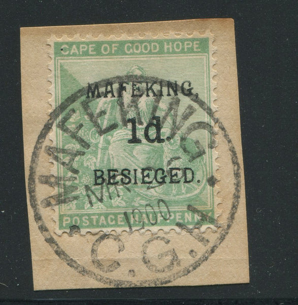 MAFEKING 1900 1d on 1/2d - FINE USED ON PIECE - SG1