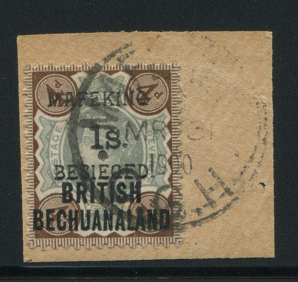 MAFEKING 1900 1s on 4d - FINE USED ON PIECE - SG 11