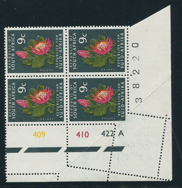 1972 9c DEFINITIVE MISPERFORATED CONTROL BLOCK