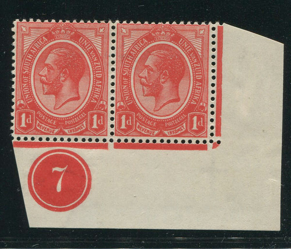 SA 1913 KGV KINGSHEAD 1d CONTROL PAIR BOTTOM RIGHT