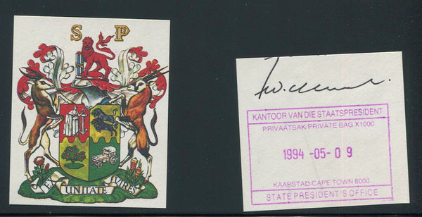 1989 DE KLERK SIGNATURE WITH LAST DAY OF HIS TENURE CACHET & COA