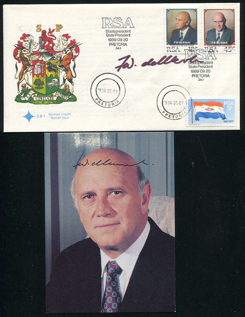 1989 DE KLERK FDC & PHOTO BOTH SIGNED BY HIM