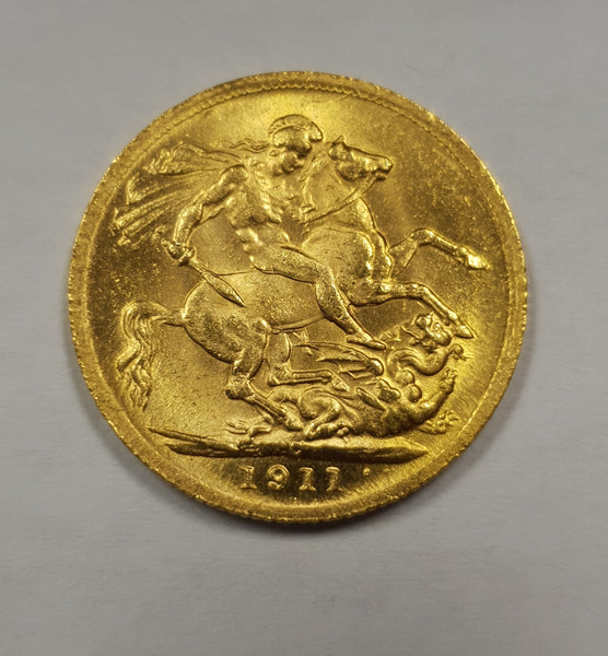 GREAT BRITAIN 1917 KING GEORGE V  GOLD SOVEREIGN