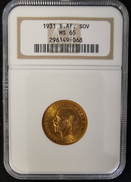 SA 1931 GRADED SOVEREIGN MS 65
