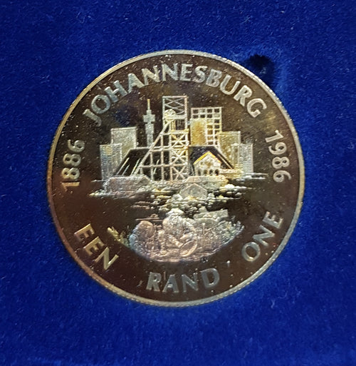 SA 1986 JOHANNESBURG 100  PROOF SILVER ONE RAND