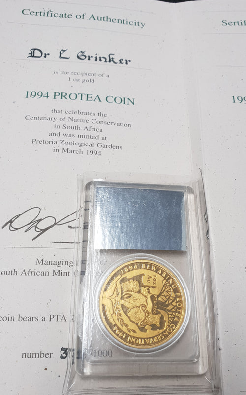 1994 CONSERVATION PRETORIA ZOO MINT ONE OUNCE