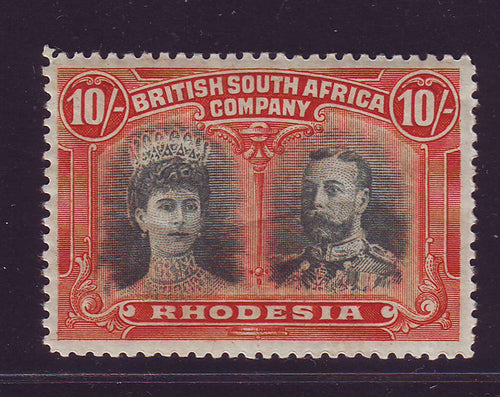 RHODESIA 1910 10/-  DOUBLE HEAD FINE UNMOUNTED MINT