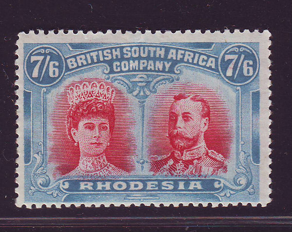 RHODESIA 1910 7/6  DOUBLE HEAD FINE UNMOUNTED MINT