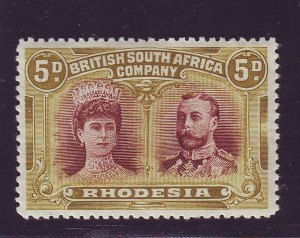RHODESIA 1910 5d DOUBLE HEAD FINE UNMOUNTED MINT