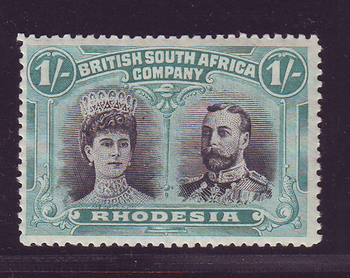 RHODESIA 1910 1/- DOUBLE HEAD FINE UNMOUNTED MINT