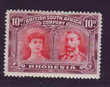 RHODESIA 1910 10d DOUBLE HEAD FINE UNMOUNTED MINT