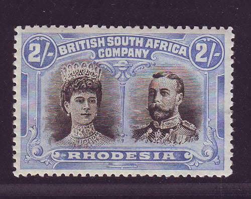 RHODESIA 1910 2/- DOUBLE HEAD FINE UNMOUNTED MINT
