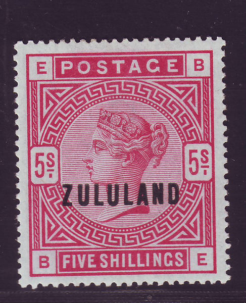 ZULULAND 1888 5/- VERY FINE MINT