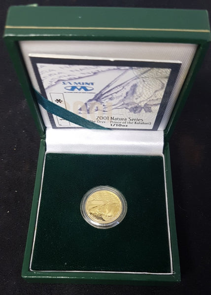 2001 NATURA ONE TENTH OUNCE ORYX GOLD PROOF COIN