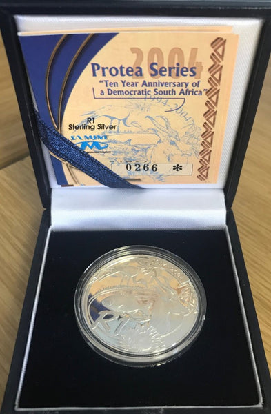 2004  R1 SILVER PROTEA '10 YEARS OF DEMOCRACY'  PROOF