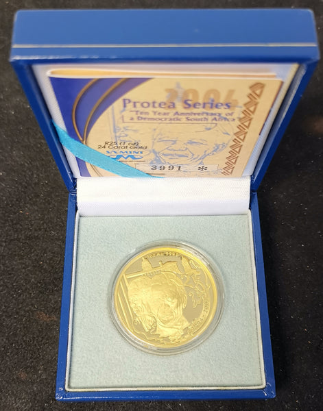 2004  PROTEA TEN YEARS DEMOCRACY ONE OUNCE GOLD