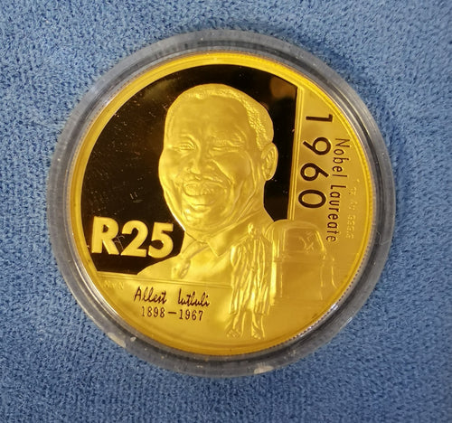 2005 NOBEL PRIZE WINNERS PROTEA PROOF ONE  OUNCE GOLD - LUTHULI
