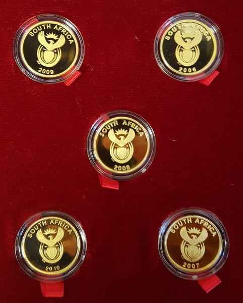2010 FIFA PRESTIGE SET OF 5 x 1/4 24ct GOLD TWO RAND PROOF COINS