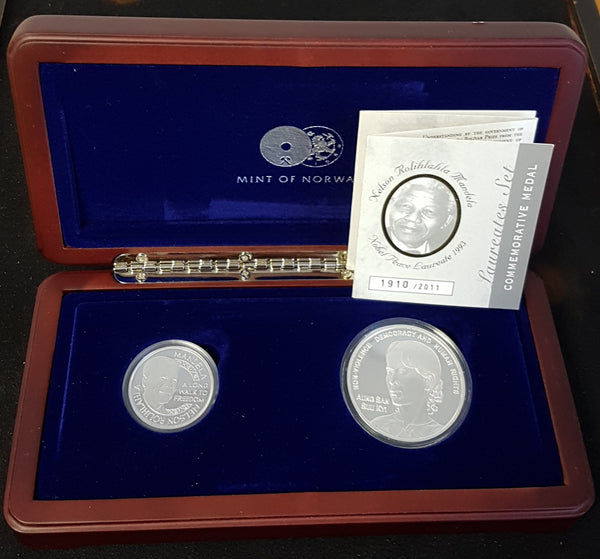 MINT OF NORWAY 2011 PLATINUM & SILVER NOBEL LAUREATES PROOF SET