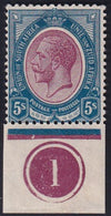SA 1913 KGV KINGSHEAD 5/-  BOTTOM  CONTROL