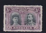 RHODESIA 1910 3/-  DOUBLE HEAD