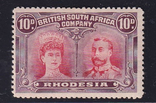 "RHODESIA 1910 10d DOUBLE HEAD ""long gash"" position 6  FINE MINT"