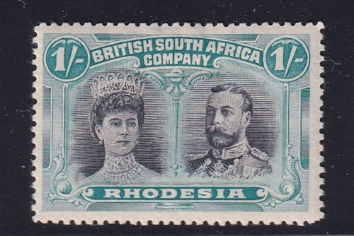 "RHODESIA 1910 1/- DOUBLE HEAD ""Lion's footprint flaw""  position 9 FINE MINT"