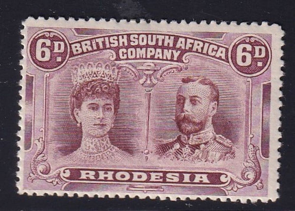 "RHODESIA 1910 6d DOUBLE HEAD ""Smudge over area of BRITI flaw""  position 39 FINE MINT"