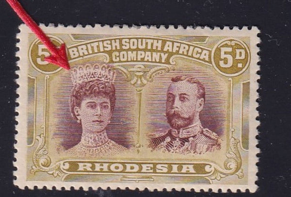 "RHODESIA 1910 5d DOUBLE HEAD ""GASH IN QUEEN'S EAR"" VERY  FINE MINT"
