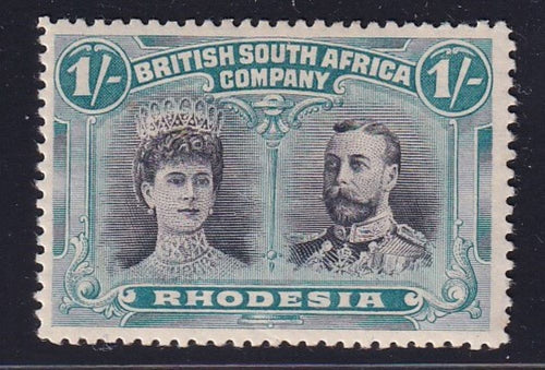 RHODESIA 1910 1/- DOUBLE HEAD FINE MINT SG 151 #3
