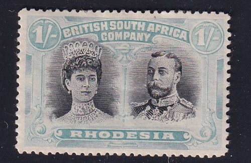 RHODESIA 1910 1/- DOUBLE HEAD FINE MINT SG 152
