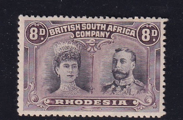 RHODESIA 1910 8d DOUBLE HEAD FINE MINT SACC 147