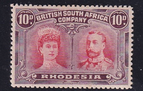 RHODESIA 1910 10d DOUBLE HEAD FINE  MINT SG 149