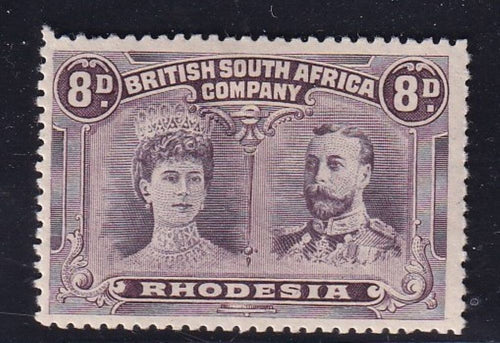 RHODESIA 1910 8d DOUBLE HEAD FINE MINT GASH IN EAR