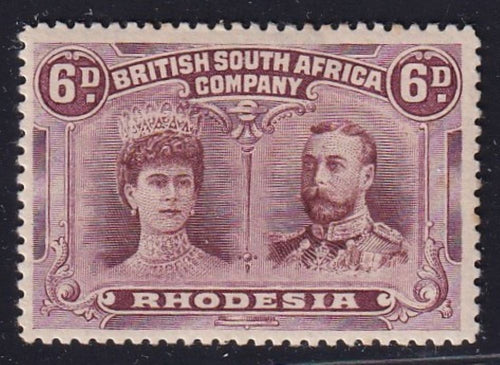 RHODESIA 1910 6d  DOUBLE HEAD FINE MINT SG 144