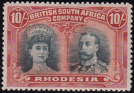RHODESIA 1910 10/-  DOUBLE HEAD FINE MINT