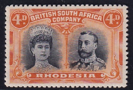 RHODESIA 1910 4d  DOUBLE HEAD FINE MINT SG 139