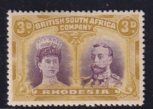 RHODESIA 1910 3d  DOUBLE HEAD FINE MINT SG 135