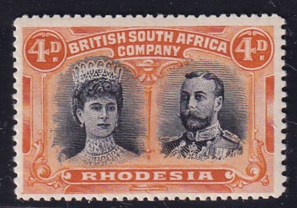 RHODESIA 1910 4d  DOUBLE HEAD FINE MINT SG 138 #1